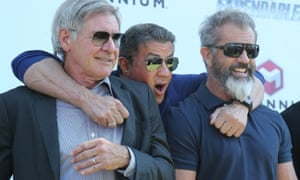 Harrison Ford, Sylvester Stallone and Mel Gibson at The Expendables photocall