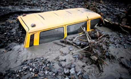 Van stranded in mud, Bosnia