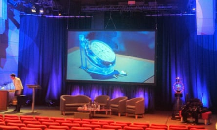 The stage at the announcement of the 2014 Longitude Prize