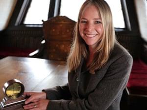 Professor Alice Roberts on the Golden Hinde II with a pendulum clock