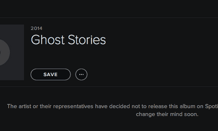 The message that fans see on Coldplay's Spotify profile.