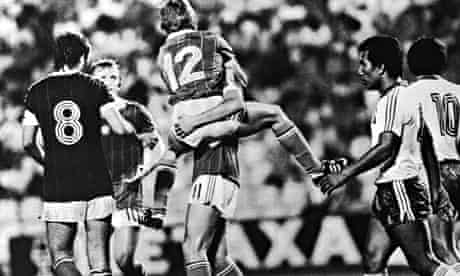 Laszlo Fazekas jumps on Gabor Poloskei after he put Hungary 3-0 up against El Salvador.