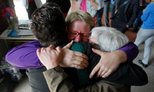 Same-sex marriage supporters celebrate at a marriage license line in Portland, Oregon.
