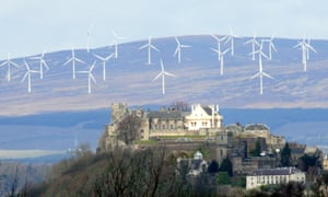 The Braes O Doune wind farm behind Stirling Castle