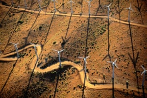 Wind turbines in the Mojave desert, California