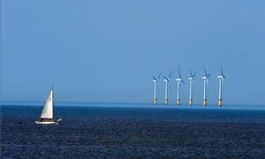 of North Hoyle offshore windfarm, at sea near Prestatyn, north Wales