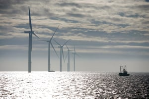 Turbines off the coast of north Lincolnshire, England.