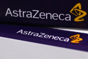The logo of AstraZeneca on medication packages in a pharmacy in London April 28, 2014.