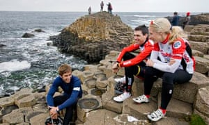Cyclists take a breather on the Giant's Causeway.