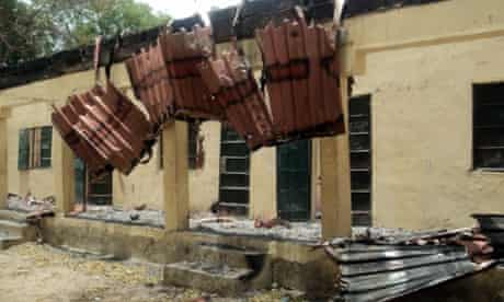 The damaged classroom at the Government Girls Secondary School in Chibok, Borno state, where gunmen stormed the town on April 14.