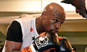 Floyd Mayweather trains for his fight with Marcos Maidana in Las Vegas.