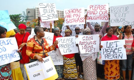 Former Nigerian Education Minister Obiageli Ezekwesilieze leads a march calling for the kidnapped girls of Chibok to be freed on 30 April, 2014.