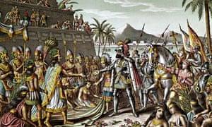 <Entrance of Cortez into Mexico> Lithograph