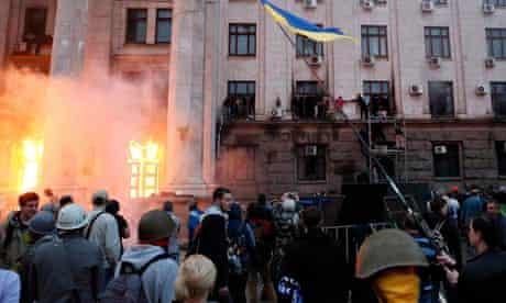 Fire in trade union building in Odessa