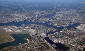 An aerial view of the greater Boston area as photographed on June 4, 2013 in Boston, Massachussets.