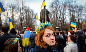 Pro-Ukrainian rally in Luhansk, eastern Ukraine