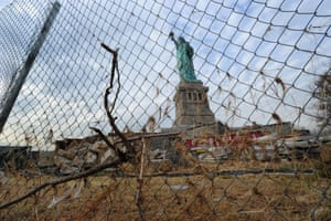 Nov. 30, 2012 - Liberty Island, New York, U.S. - Construction fencing surrounds The Statue of Liberty as The National Park Service and The Statue of Liberty-Ellis Island Foundation conduct a media tour of Statue of Liberty National Monument to discuss the damage created at the site by Hurricane Sandy, the restoration work completed since the storm and a discussion of next steps going forward.