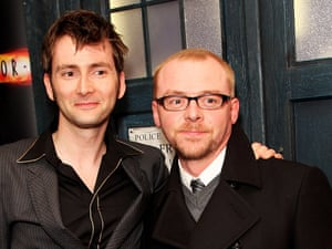 David Tennant and Simon Pegg in front of the Tardis during the press launch of 'Dr Who' Series 4 at the Apollo West End.