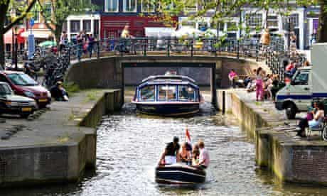 Amsterdam. Canal cruise tour boat