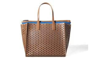 15 handbags under £150: 15 handbags under £150 - brown perforated bag with blue lining by Zara