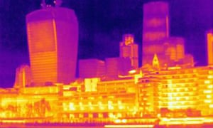 A thermal image of the London city skyline.
