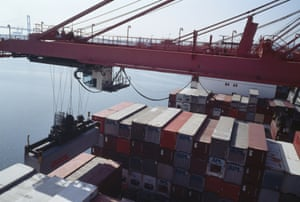 Allan Sekula Hammerhead crane unloading forty-foot containers from Asian ports.  American President Lines terminal. Los Angeles harbour.  November 1992, San Pedro, California, United States  Series: Fish Story