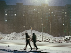 Snow falls in a St Petersburg suburb