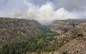 Smoke from the Las Conchas fire float across Fijoles Canyon in Bandelier National Monument, Thursday, June 30, 2011. The Las Conchas Fire has burned half the park but the visitor center and main ruins have not.
