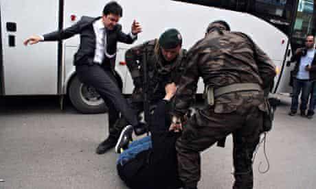 Yusuf Yerkel kicks protester