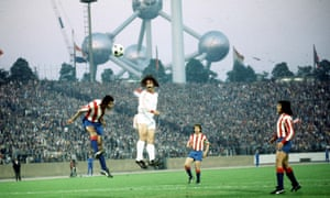 Gerd Müller heads goalwards as Bayern Munich take on Atlético Madrid in the final of the European Cup in 1974.