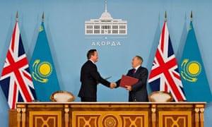 David Cameron and Kazakh president Nursultan Nazarbayev after signing a trade partnership agreement