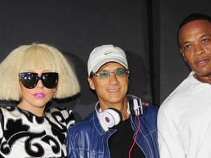 Lady Gaga, Jimmy Iovine and Dr Dre promote Beats.