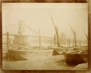 Hungerford bridge c1845. Designed and built by Isambard Kingdom Brunel it linked Hungerford Market and Lambeth, but was demolished in the early 1860s. This delicate salt print will be displayed  behind a screen to protect it from light which could damage it.