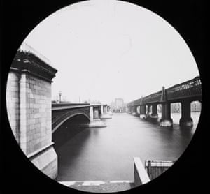 Blackfriars Bridge and Railway Bridge, a glass lantern slide produced in the late 19th century. Photograph: James Valentine& George Washington Wilson
