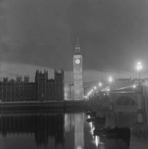 The Houses of Parliament and Big Ben taken from the south side of the River Thames near Westminster Bridge in 1965.