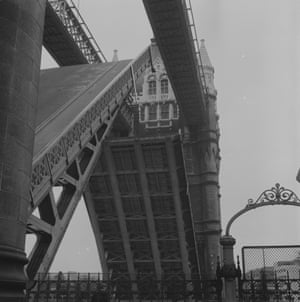 Tower Bridge with its drawbridge structures opend to allow ships to pass in 1973.