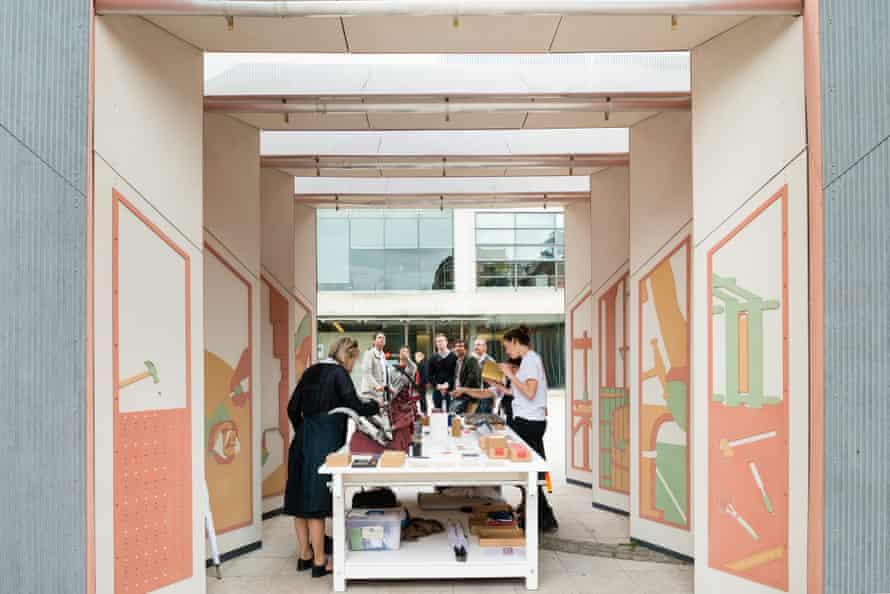 Productive portal … A letterpress workshop underway inside the pavilion.