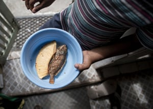 Fried fish served and ready to eat, Old Harbour Bay, Jamaica. Portland Bight Protected Area Save Goat Islands