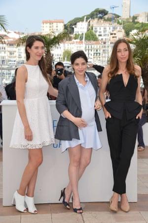 French actresses Zoe Bruneau, Heloise Godet and Jessica Erickson for the film Adieu au Language (Goodbye to Language).