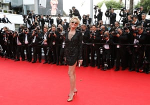 """Sharon Stone poses as she arrives for the screening of the film """"The Search""""."""
