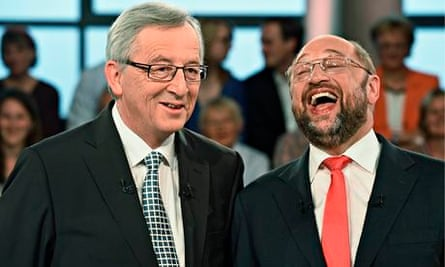 Jean-Claude Juncker, of the European People's party, and Martin Schulz, social democratic candidate