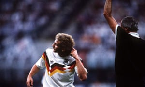 Rudi Voller points out Frank Rijkaard's unwelcome addition to his perm.
