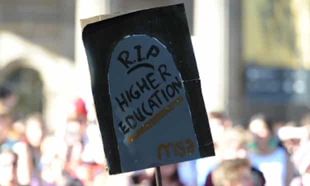 A 'RIP higher education' sign.