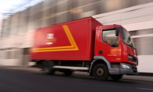 A Royal Mail van leaves the Mount Pleasant sorting office.