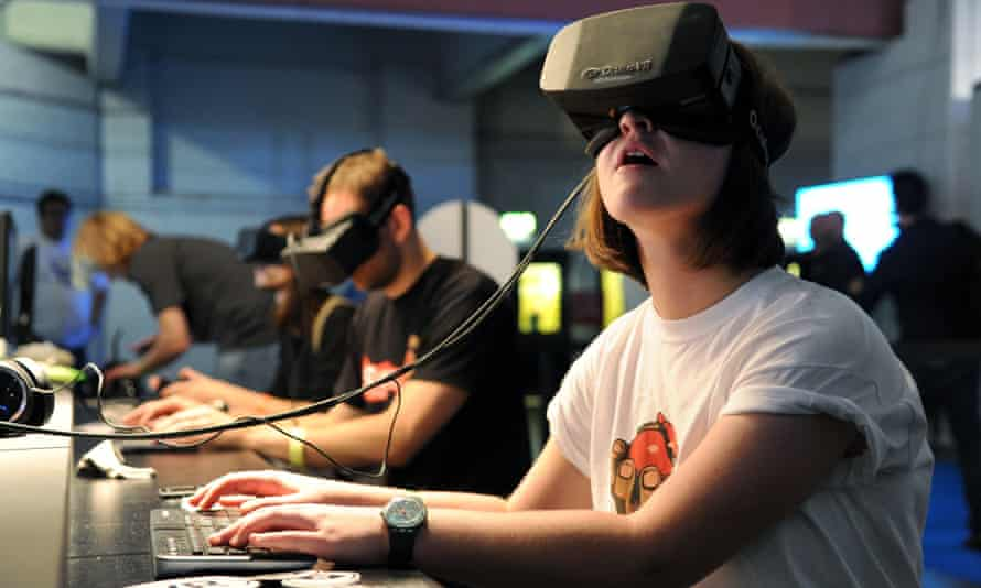 A gamer using the Oculus Rift headset. Its maker is being sued by publisher ZeniMax Media