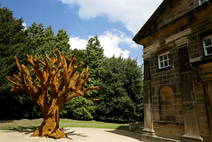 Iron Tree, 2013, a majestic six-metre high sculpture is presented in the chapel courtyard