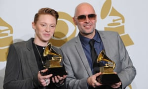 Before the split: Jackson with her songwriting partner Ben Langmaid with their Grammies in 2011.