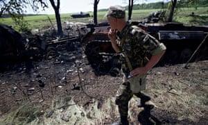 An Ukrainian soldier