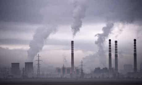 Smoke rising from stacks of a thermal power station in Sofia