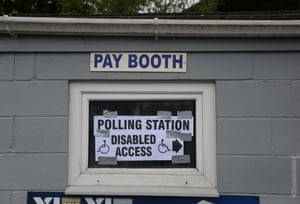 Polling station signage on display at Sandygate, home of Hallam FC in Sheffield.
